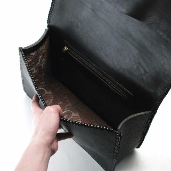 レザーブランドS'FACTORY 縁編みセカンドバッグ ブラックパイソン(ヘビ革)メンズ ブリーフケース バッグ