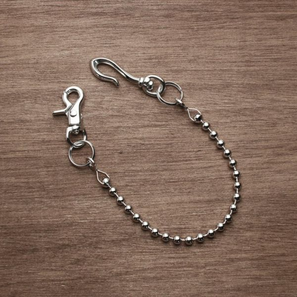 レザーブランドS'FACTORY ショート ウォレット チェーン ボール小 シルバー ブラス(真鍮)アクセサリー 短い