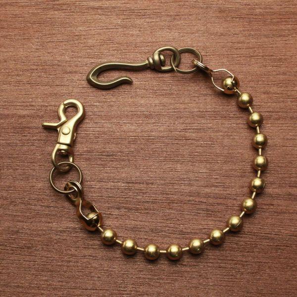レザーブランドS'FACTORY ショート ウォレット チェーン ボール大 ゴールド ブラス(真鍮)アクセサリー 短い