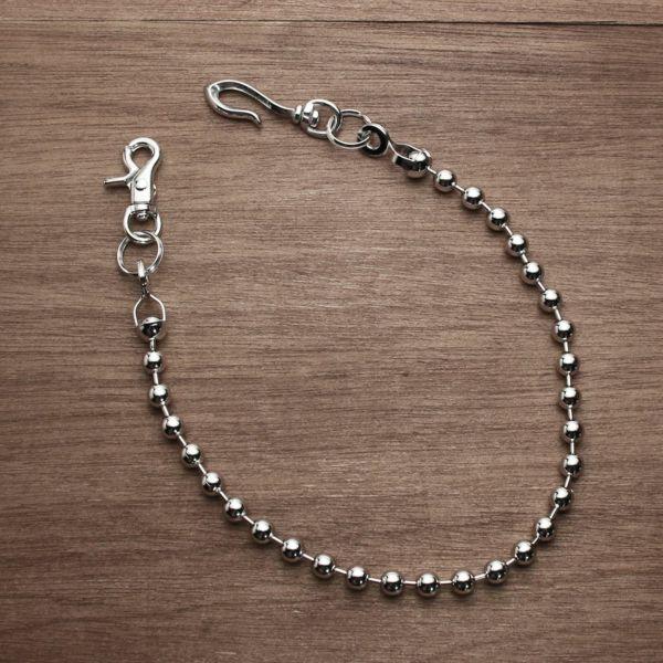 レザーブランドS'FACTORY ウォレット チェーン ボール大 シルバー ブラス(真鍮)アクセサリー