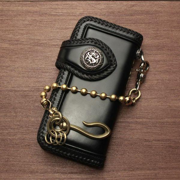 レザーブランドS'FACTORY キーリング ショート ウォレット チェーン ボール大 ゴールド ブラス(真鍮)アクセサリー 短い