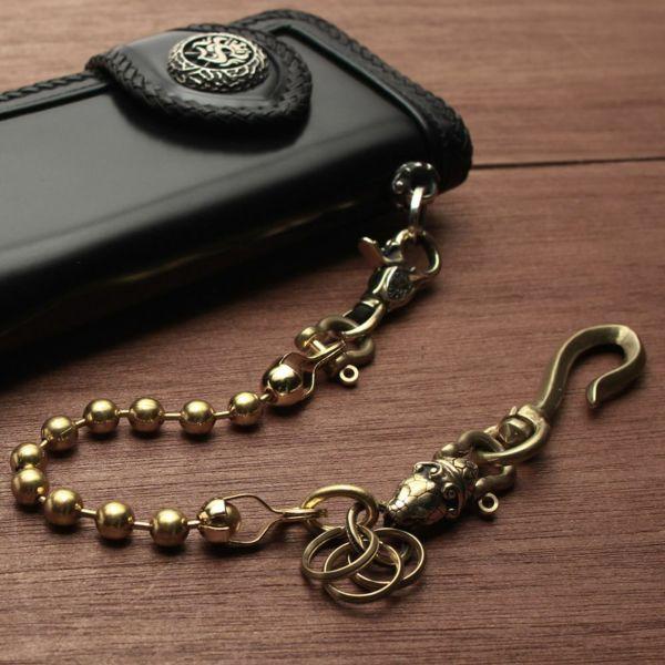 レザーブランドS'FACTORY キーリング ショート ウォレット チェーン コブラ ボール大 ゴールド ブラス(真鍮)アクセサリー 短い
