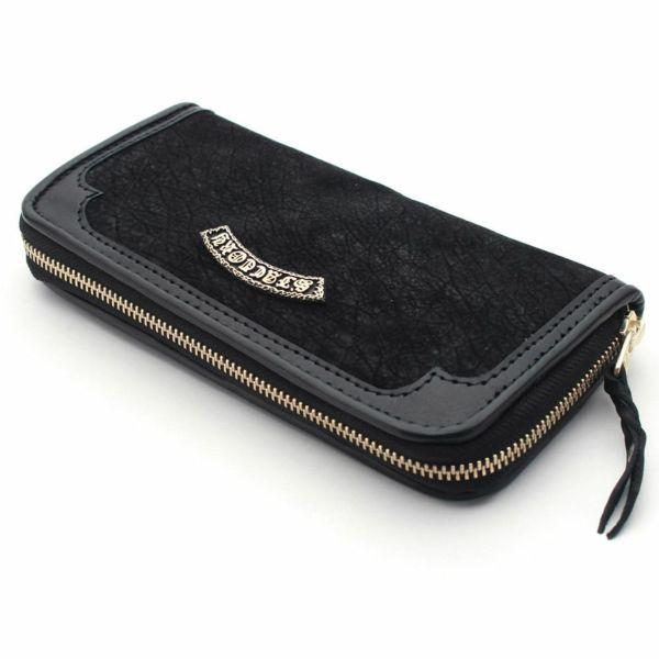 レザーブランドS'FACTORY ラウンド ファスナーウォレット ヒポ ブラック(カバ革)メンズ革財布