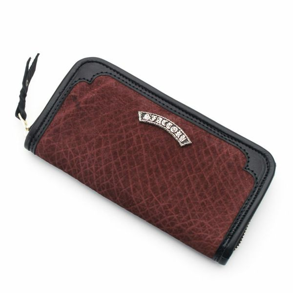 レザーブランドS'FACTORY ラウンド ファスナーウォレット ヒポ ボルドー(カバ革)メンズ革財布