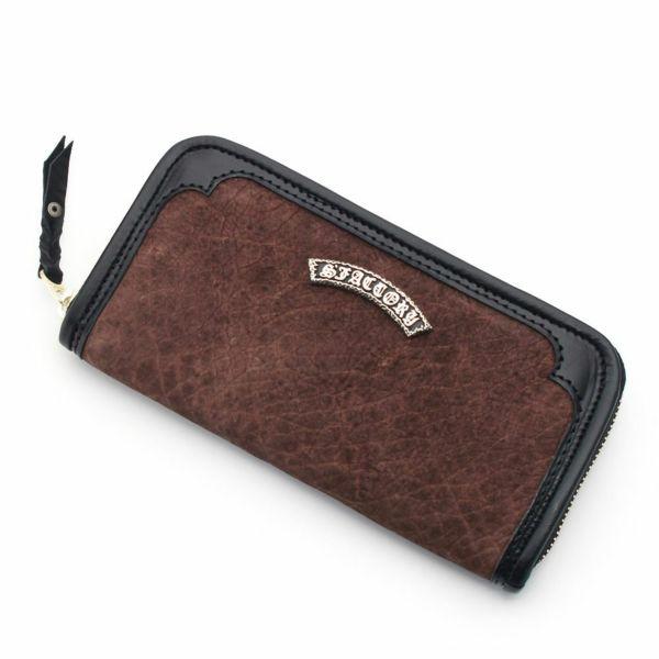 レザーブランドS'FACTORY ラウンド ファスナーウォレット ヒポ ブラウン(カバ革)メンズ革財布