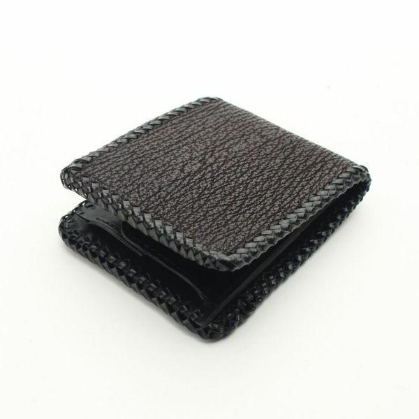 レザーブランドS'FACTORY 縁編み ショートウォレット シャーク(サメ革) メンズ革財布