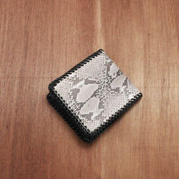 レザーブランドS'FACTORY 縁編み ショートウォレット パイソン(ヘビ革) メンズ革財布