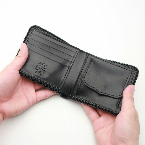 レザーブランドS'FACTORY 縁編み ショートウォレット ブラックパイソン(ヘビ革) メンズ革財布