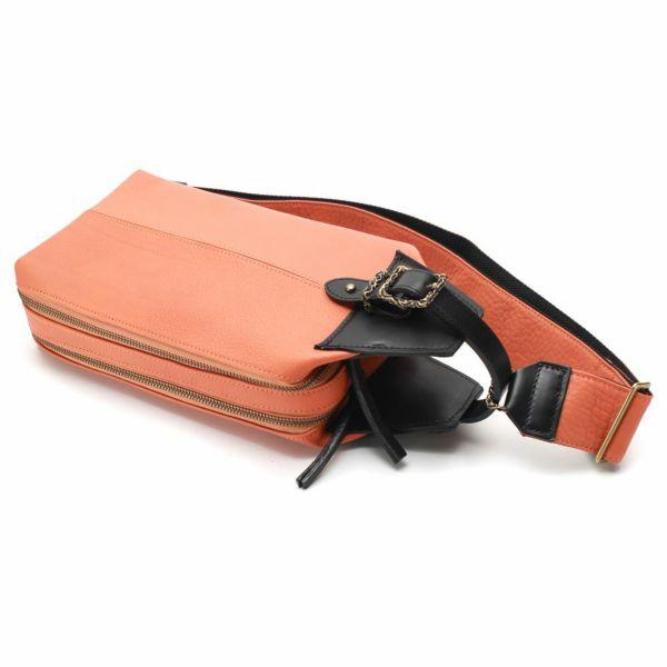 レザーブランドS'FACTORY BURNOUT 2wayセカンドバッグ カウレザー オレンジ(牛革)メンズ レザー ボディ バッグ