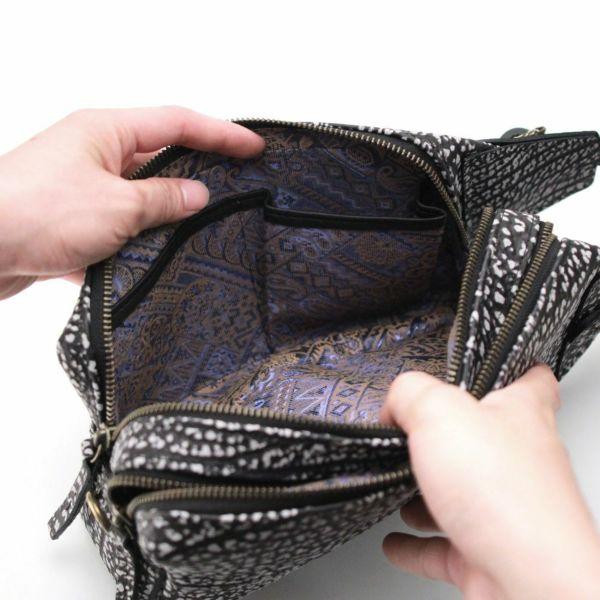 レザーブランドS'FACTORY BURNOUT 2wayセカンドバッグ バッファロー ブラック×ホワイト(水牛革)メンズ レザー ボディ バッグ