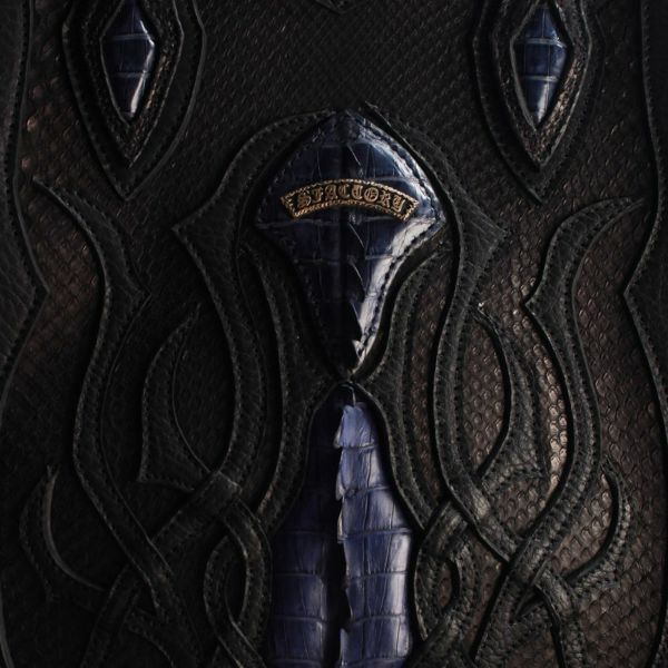 レザーブランドSIXTHSENSE クロコ&ブラックパイソン トートバッグ メンズ ワニ革 トートバッグ