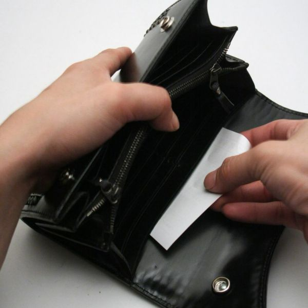 レザーブランドS'FACTORY 2スナップロングウォレット カウレザー ブラック&レッド(牛革)革財布