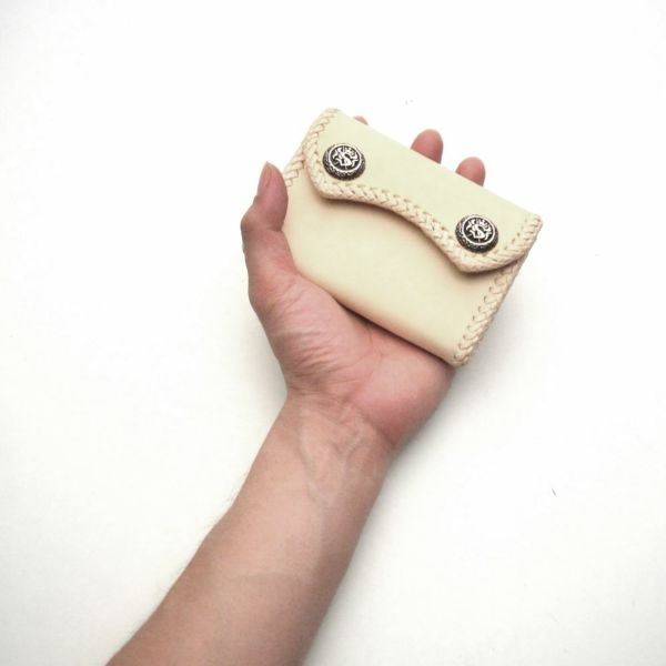 レザーブランドS'FACTORY マイクロウォレット カウレザー ナチュラル(牛革) メンズ革財布
