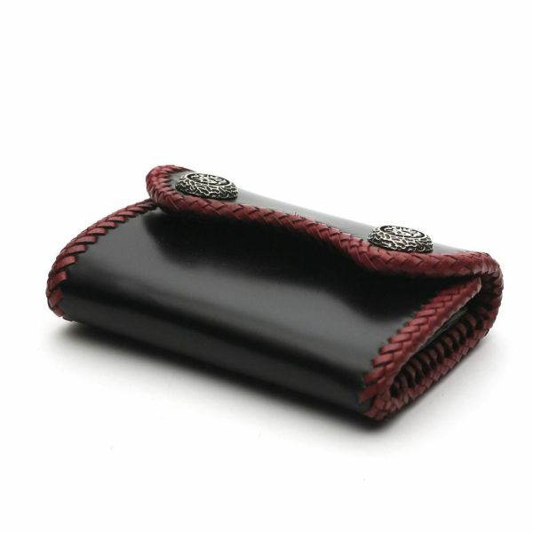 レザーブランドS'FACTORY マイクロウォレット カウレザー ブラック&レッド(牛革) メンズ革財布