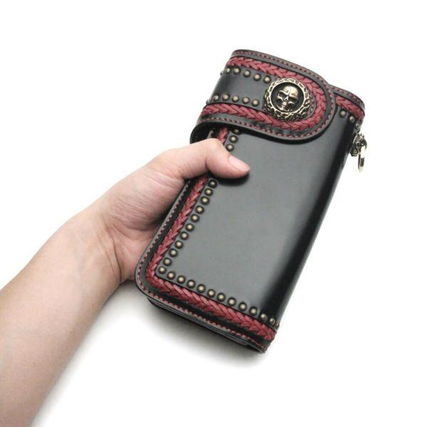 レザーブランドS'FACTORY バイカーズウォレット04 カウレザー ブラック&レッド(牛革) メンズ革財布