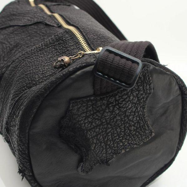 レザーブランドRonove ミニドラムバッグ No.05 ブラック シャーク(サメ革) メンズ ショルダー バッグ Golgotha