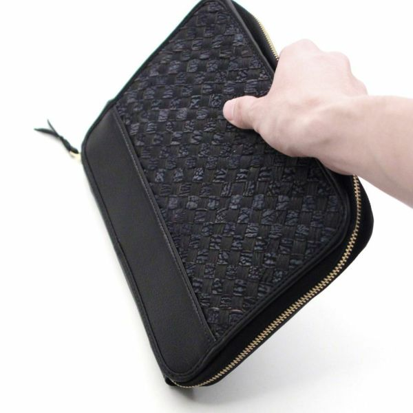 レザーブランドS'FACTORY クラッチ ウォレット シャーク メッシュ(サメ革) メンズ革財布
