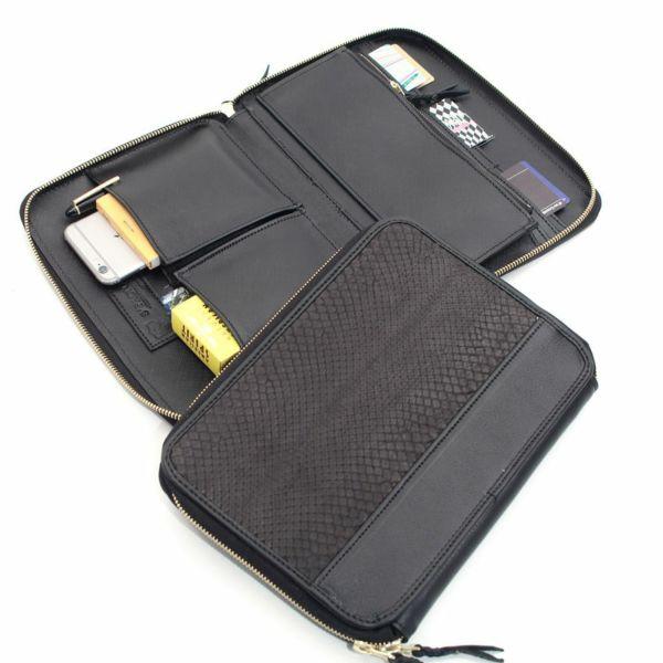 レザーブランドS'FACTORY クラッチ ウォレット ブラックパイソン(ヘビ革) メンズ革財布
