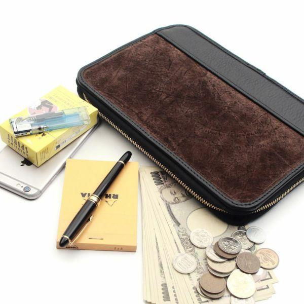 レザーブランドS'FACTORY クラッチ ウォレット ヒポ ブラウン(カバ革)メンズ革財布