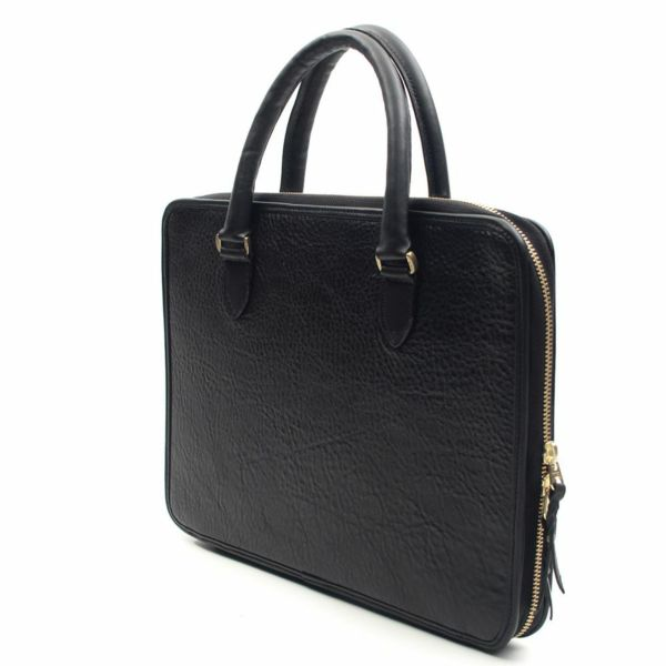 レザーブランドS'FACTORY スリム ブリーフケース ブラックパイソン(ヘビ革)メンズ ブリーフバッグ