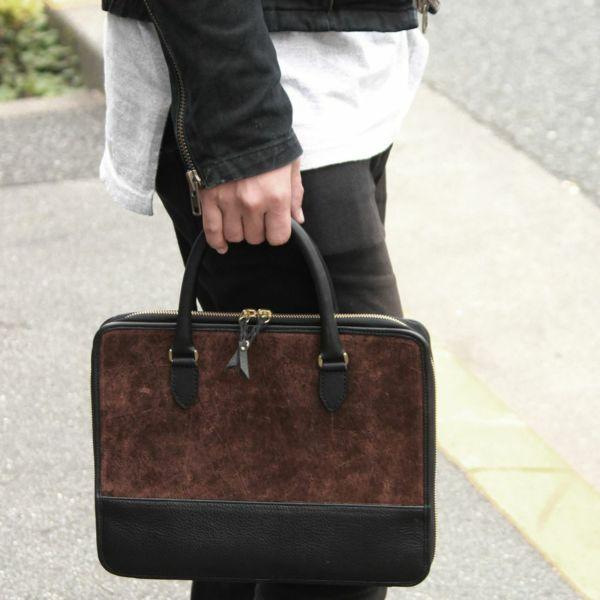 レザーブランドS'FACTORY スリム ブリーフケース ヒポ ブラウン(カバ革)メンズ ブリーフバッグ