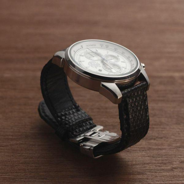 レザーブランドS'FACTORY クロノグラフ腕時計レザーベルト リザード(トカゲ革)