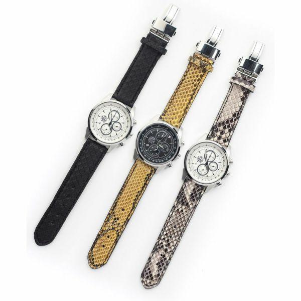 レザーブランドS'FACTORY クロノグラフ腕時計レザーベルト パイソン(ヘビ革)