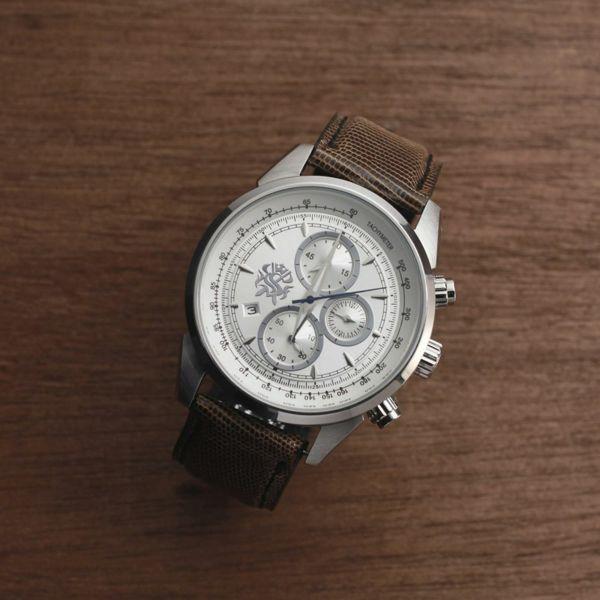 レザーブランドS'FACTORY クロノグラフ腕時計レザーベルト テジュー(イグアナ革)