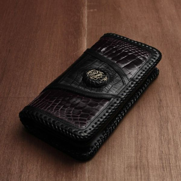 レザーブランドSIXTHSENSE 肛門ウォレット クロコダイル(ワニ革)革財布