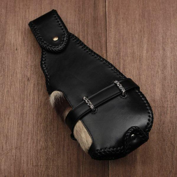 レザーブランドSIXTHSENSE バイカーズウォレットフルセット・トラ トラ毛皮 メンズ革財布