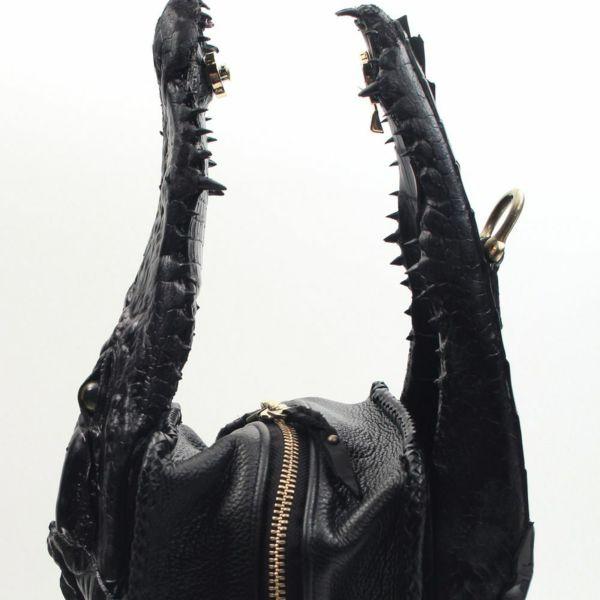 レザーブランドSIXTHSENSE ワニの開きボディーバッグ クロコダイル(ワニ革)メンズ頭付きボディバッグ