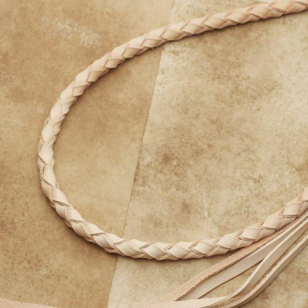 レザーブランドS'FACTORY ウォレットチェーン 4本編み カウレザー ナチュラル(牛革)バイカーズ アクセサリー