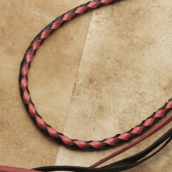 レザーブランドS'FACTORY ウォレットチェーン 4本編み カウレザー ブラック&レッド(牛革)バイカーズ アクセサリー