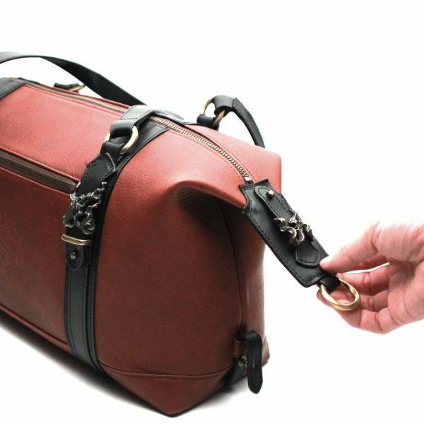 レザーブランドS'FACTORY BURNOUT ミニボストンバッグ カウレザーレッドブラウン(牛革)メンズ レザー ボディ バッグ