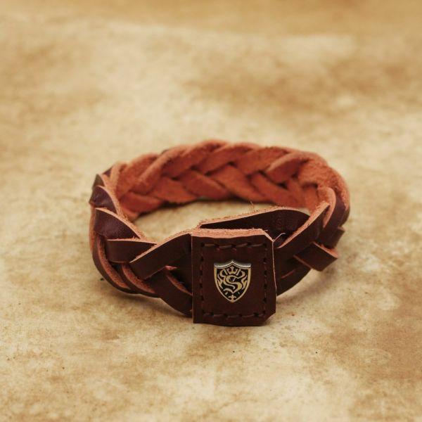 レザーブランドS'FACTORY ツイスト編み レザーブレスレット カウレザー レッド(牛革)メンズ アクセサリー ブレスレット