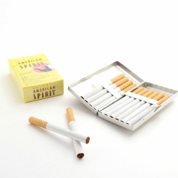 レザーブランドS'FACTORY メタルシガレットケース 12本タイプ カウレザー レッド(牛革)革小物 タバコ入れ