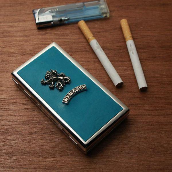 レザーブランドS'FACTORY メタルシガレットケース 12本タイプ ポニー ターコイズブルー(馬革)革小物 タバコ入れ
