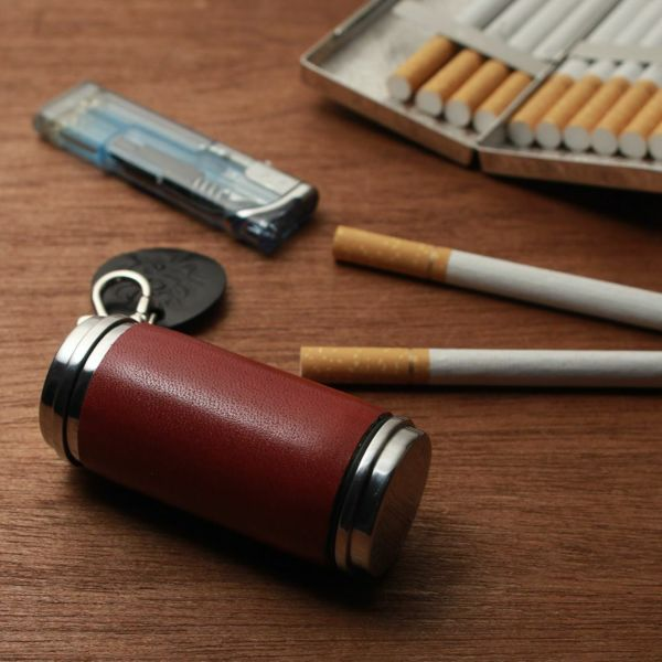 レザーブランドS'FACTORY 携帯灰皿シリンダー カウレザー レッド(牛革)革小物 喫煙具