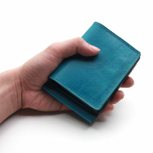 レザーブランドS'FACTORY マネークリップ ウォレット ポニー ターコイズブルー(馬革)革小物