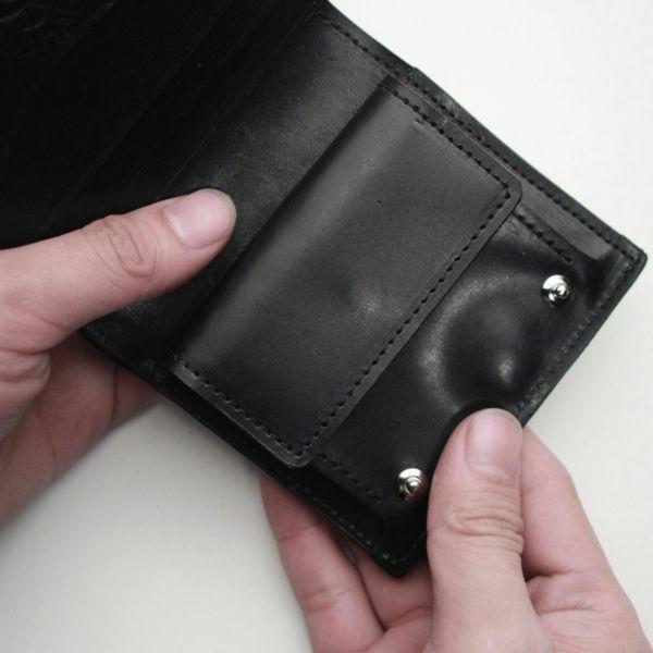 レザーブランドS'FACTORY スナップミニウォレット ブラックパイソン(ヘビ革)革財布