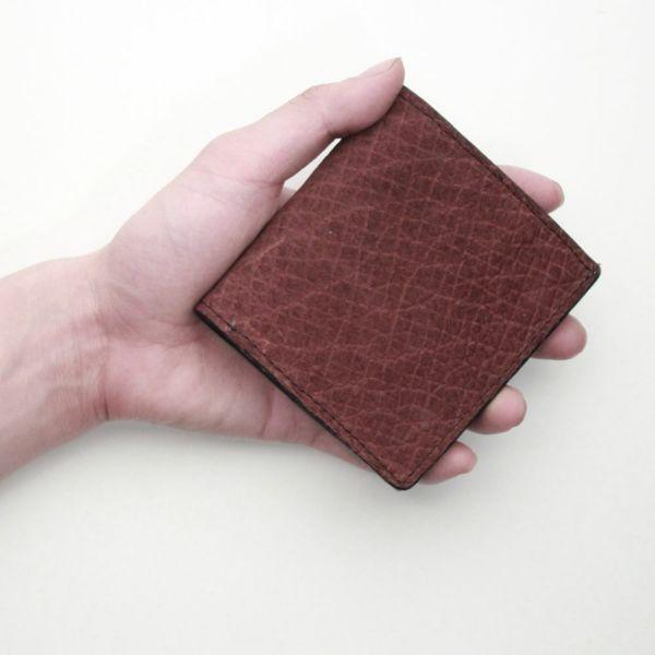 レザーブランドS'FACTORY スナップミニウォレット ヒポ ボルドー(カバ革)革財布