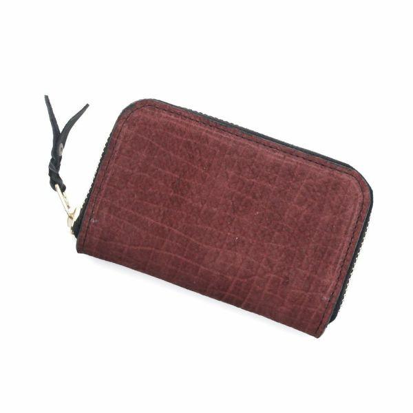 レザーブランドS'FACTORY ラウンドファスナーコインケース ヒポ ボルドー(カバ革)革小物 ミニ財布
