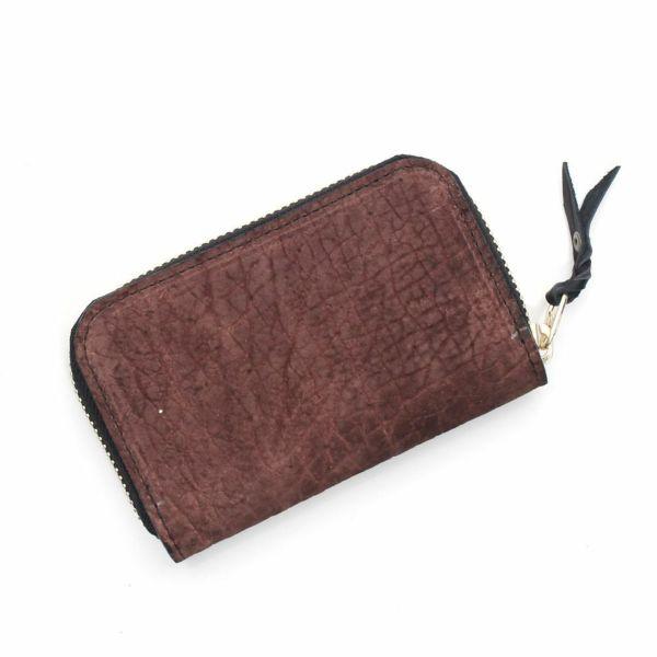 レザーブランドS'FACTORY ラウンドファスナーコインケース ヒポ ブラウン(カバ革)革小物 ミニ財布