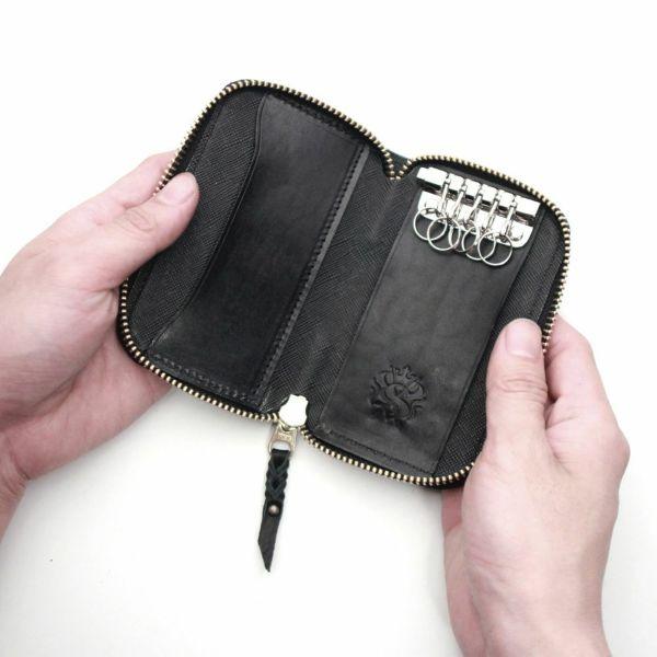 レザーブランドS'FACTORY ラウンドファスナーキーケース シャーク(サメ革) 革小物