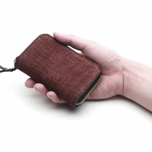レザーブランドS'FACTORY ラウンドファスナーキーケース ヒポ ボルドー(カバ革) 革小物