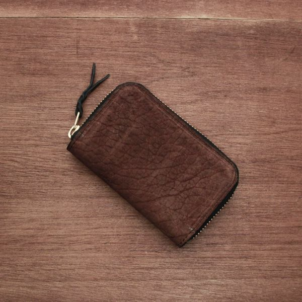 レザーブランドS'FACTORY ラウンドファスナーキーケース ヒポ ブラウン(カバ革) 革小物