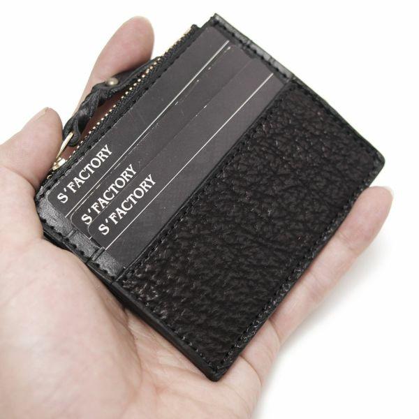 レザーブランドS'FACTORY カードマネークリップ シャーク(サメ革)革小物 パスケース