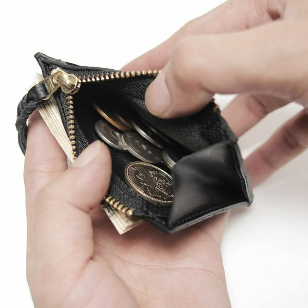 レザーブランドS'FACTORY カードマネークリップ ブラックパイソン(ヘビ革)革小物 パスケース