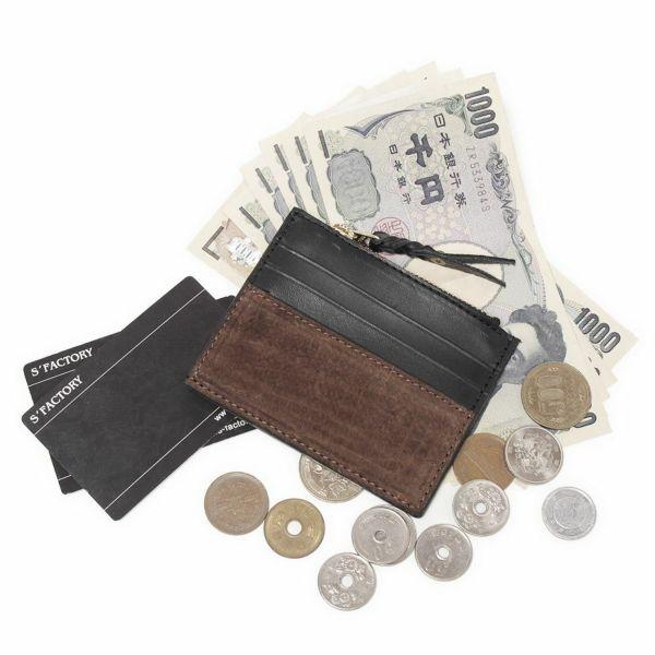 レザーブランドS'FACTORY カードマネークリップ ヒポ ブラウン(カバ革)革小物 パスケース