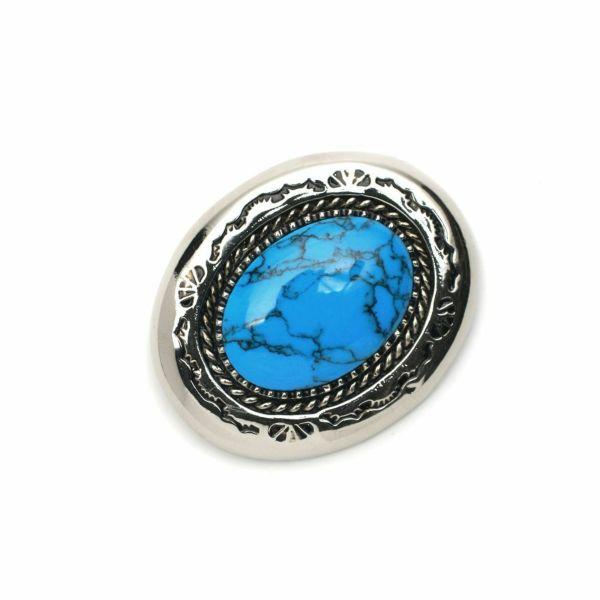 メンズ レザーブランドSALE ラウンド コンチョ ターコイズブルー 亜鉛合金